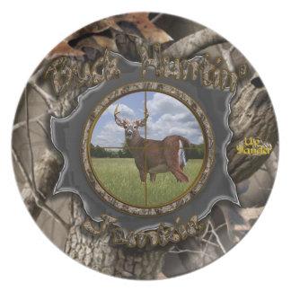 Buck Huntin' Junkie Melamine Plate