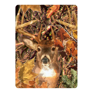Buck in Camo White Tail Deer 6.5x8.75 Paper Invitation Card