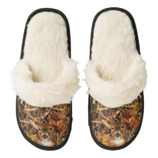 Buck in Camo White Tail Deer Pair Of Fuzzy Slippers