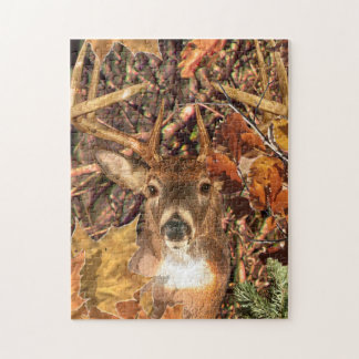 Buck in Camo White Tail Deer Jigsaw Puzzles