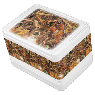 Buck in Camouflage White Tail Deer Drink Cooler