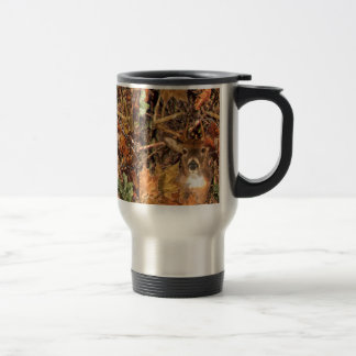 Buck in Fall Camo White Tail Deer 15 Oz Stainless Steel Travel Mug