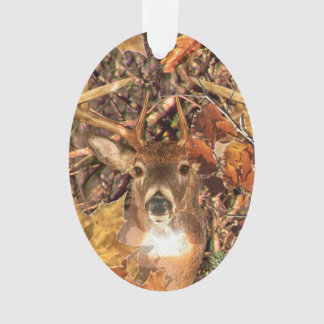 Buck in Fall season scene White Tail Deer Ornament