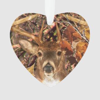Buck in Fall season scene White Tail Deer Ornament