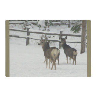 Buck in the Winter Placemat Laminated Place Mat