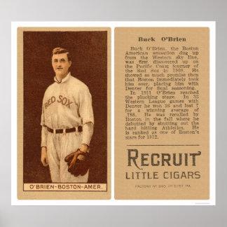 Buck O'Brien Red Sox Baseball 1912 Poster