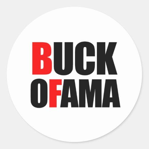 BUCK OFAMA ROUND STICKER