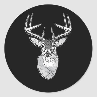 Buck on Black design White Tail Deer Classic Round Sticker