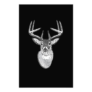 Buck on Black design White Tail Deer Stationery