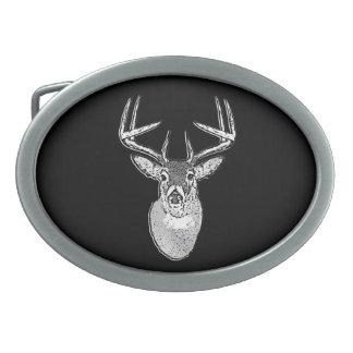 Buck on Black  White Tail Deer Belt Buckles
