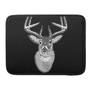 Buck on Black White Tail Deer classic Sleeves For MacBooks