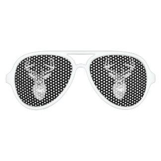 Buck on Black  White Tail Deer Aviator Sunglasses