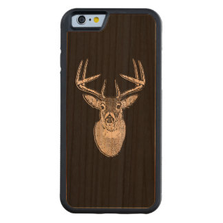Buck on Black White Tail Deer head Carved Cherry iPhone 6 Bumper Case