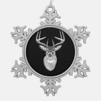 Buck on Black White Tail Deer head Snowflake Pewter Christmas Ornament