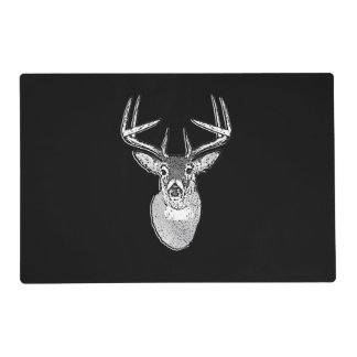 Buck on Black  White Tail Deer Laminated Place Mat