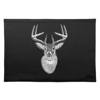 Buck on Black  White Tail Deer Cloth Place Mat