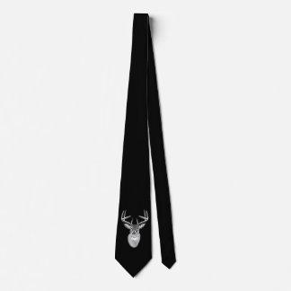 Buck on Black  White Tail Deer Tie
