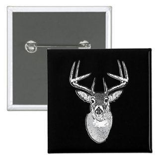 Buck on Bold Black White Tail Deer Button