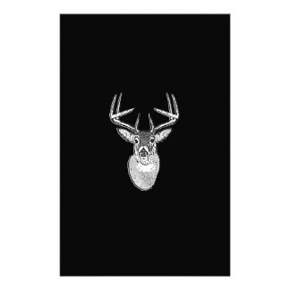 Buck on Bold Black White Tail Deer Stationery
