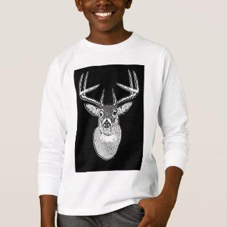 Buck on Bold Black White Tail Deer T-Shirt