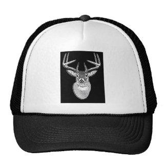 Buck on Bold Black White Tail Deer Trucker Hat