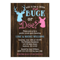 Buck or Doe Gender Reveal Party Baby Shower 5x7 Paper Invitation Card