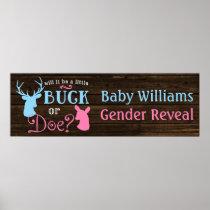 Buck or Doe Gender Reveal Party Banner Poster