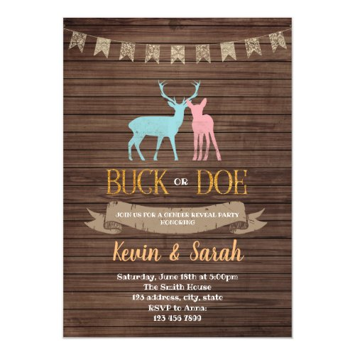 Buck or doe gender reveal party invitation