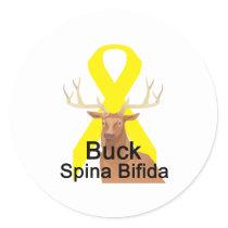 Buck-Spina-Bifida Classic Round Sticker