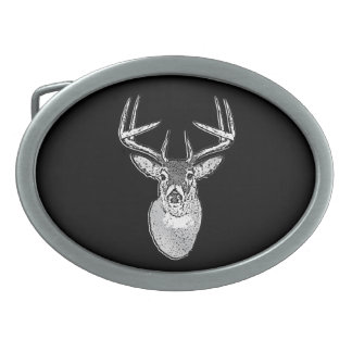 Buck trophy on Black White Tail Deer Belt Buckle