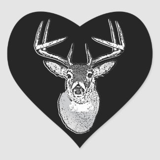 Buck trophy on Black White Tail Deer Heart Sticker