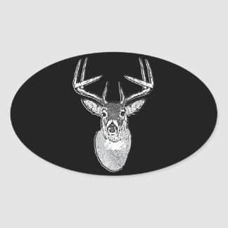 Buck trophy on Black White Tail Deer Oval Sticker