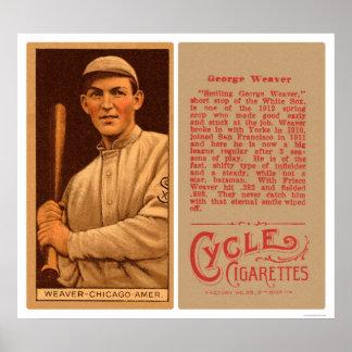 Buck Weaver White Sox Baseball 1912 Poster