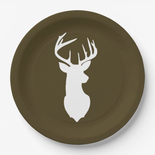 Buck White Deer Silhouette Plate | Dark Brown
