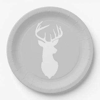 Buck White Deer Silhouette Plate | Light Gray