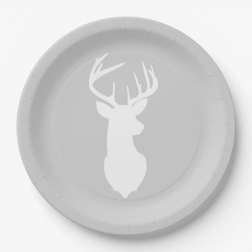 Buck White Deer Silhouette Plate | Light Gray