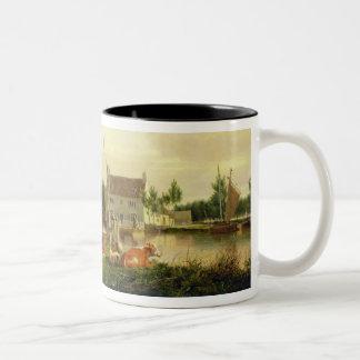 Buckenham Ferry on the River Yare, Norfolk, 1826 ( Two-Tone Coffee Mug