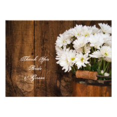 Bucket and Daisies Country Wedding Thank You Note Custom Invitation