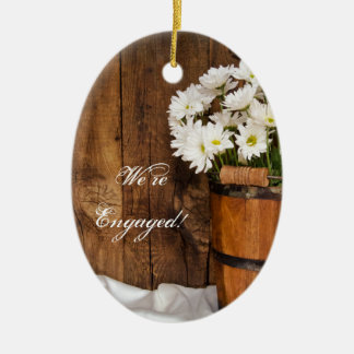 Bucket and White Daisies Country Engagement Ceramic Ornament