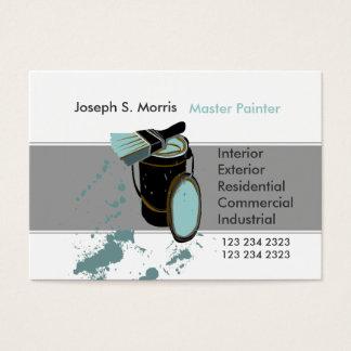 Bucket & Brush Blue Paint Modern  House Painter Business Card