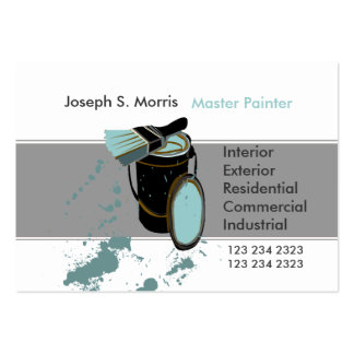 Bucket & Brush Blue Paint Modern  House Painter Large Business Card