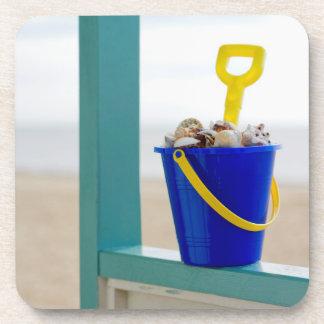Bucket Filled With Seashells Beverage Coaster