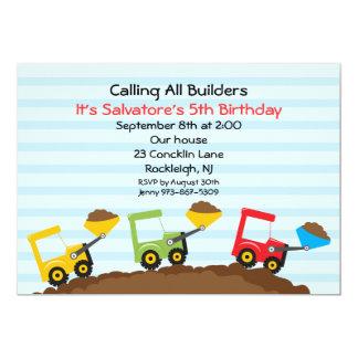 Bucket Loader Boys Construction Invitation