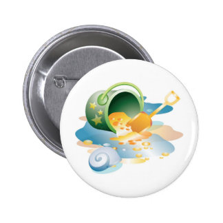 Bucket, Pail and Shell Pinback Button
