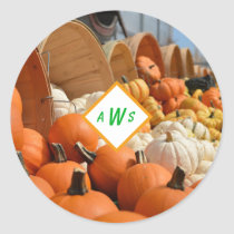 Buckets of Pumpkin Gourds Monogram Sticker Seals