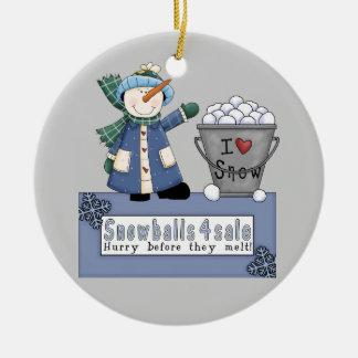Buckets of Snowballs For Sale Ceramic Ornament