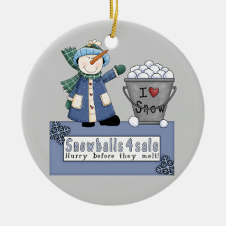 Buckets of Snowballs For Sale Double-Sided Ceramic Round Christmas Ornament