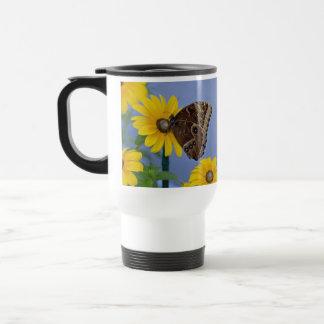 Buckeye Butterfly on Yellow Daisy Travel Mug