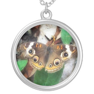 Buckeye Butterfly Round Pendant Necklace