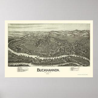 Buckhannon, mapa panorámico de WV - 1900 Póster